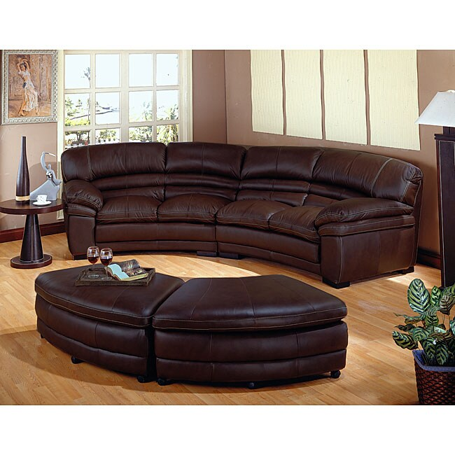 Chocolate Brown Leather Sectional Sofa With 2 Storage