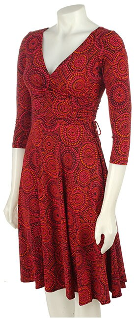 London Times Wrap Matte Jersey 3/4 Sleeve Dress