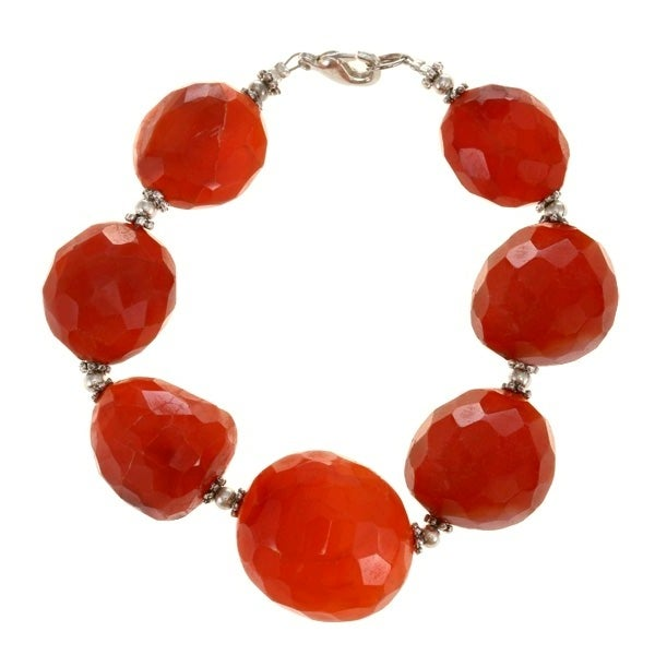Silver Bead and Faceted Red Agate Bracelet