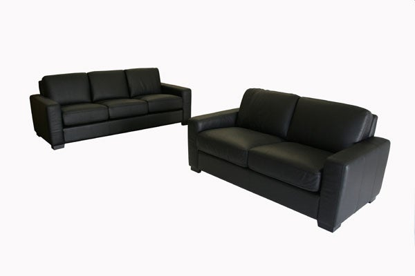 Portola Black Leather Sofa And Loveseat Set Free Shipping Today 2382322