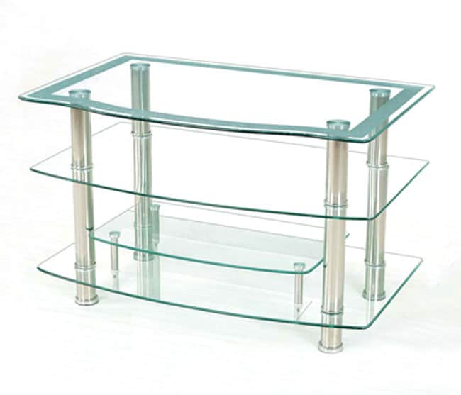Shop Midtown 42 Inch Etched Glass Tv Stand Free Shipping Today