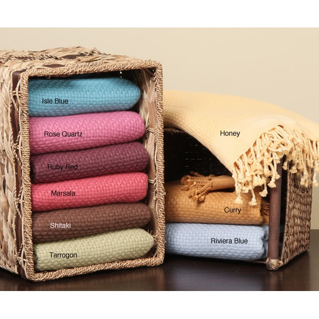 Luxury Basketweave Pure Cashmere Throw Blanket