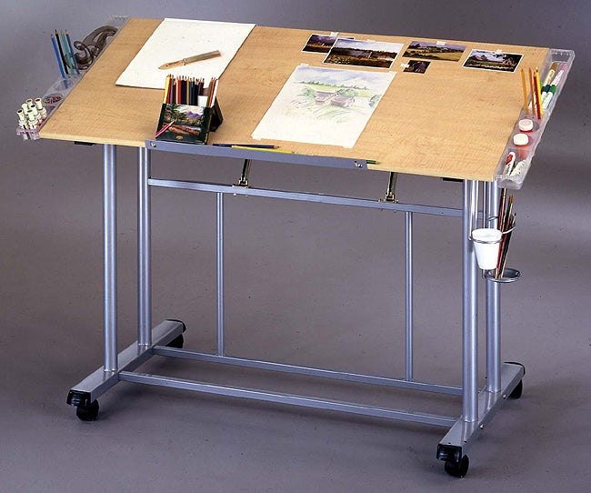 Shop Adjustable Drawing Amp Craft Table In Maple Amp Silver
