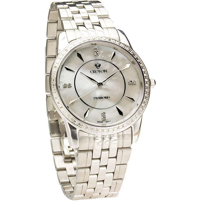 croton men s luxury stainless steel diamond accent dress watch croton men s luxury stainless steel diamond accent dress watch