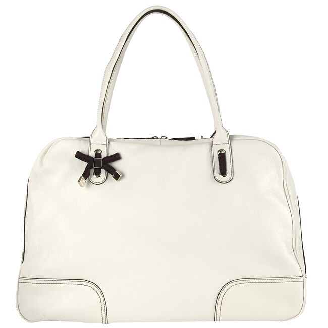 27bd8d16bbd6 Shop Gucci Large White Leather Princy Satchel - Free Shipping Today -  Overstock - 2453812