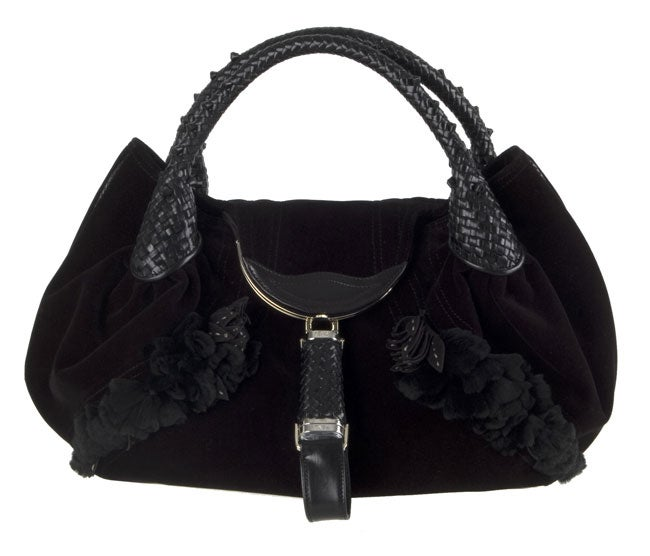 Fendi Black Embelished Velvet Floral Spy Bag