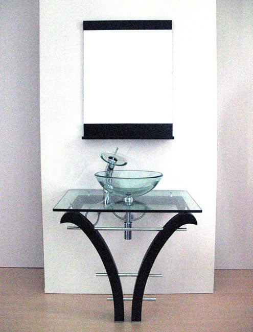 Pedestal Glass Bathroom Vanity and Faucet - Thumbnail 0