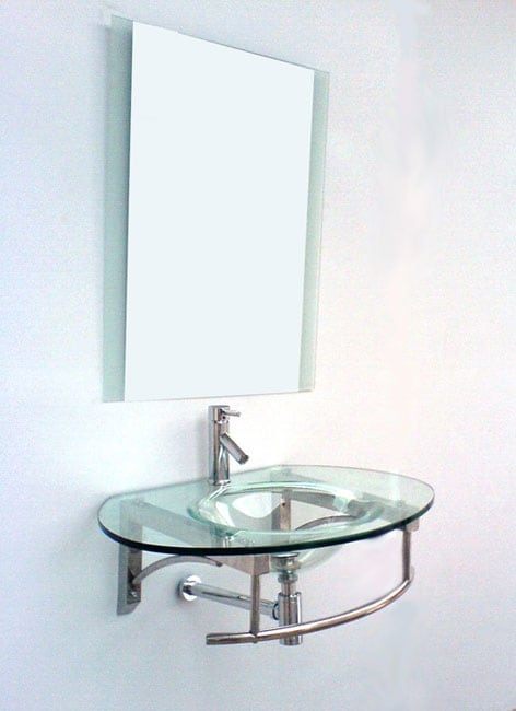 Modern Wall-mounted Glass Vanity and Faucet