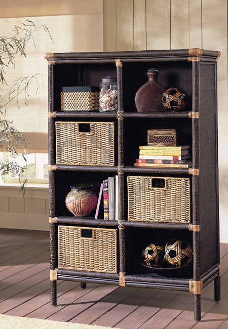 Black Rattan Bookcase Amp 3 Storage Baskets Free Shipping
