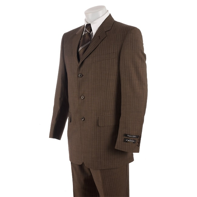 Calvin America Men's Brown Suit with Blue Pinstripes - Free
