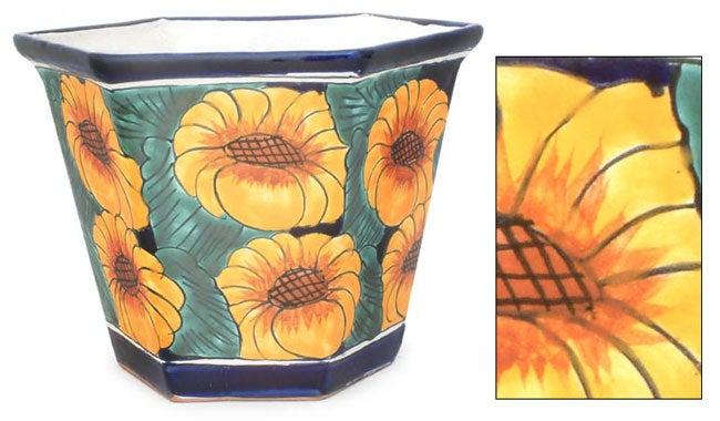 Handmade Ceramic Sunflower Fiesta Octagonal Flowerpot Planter (Mexico)