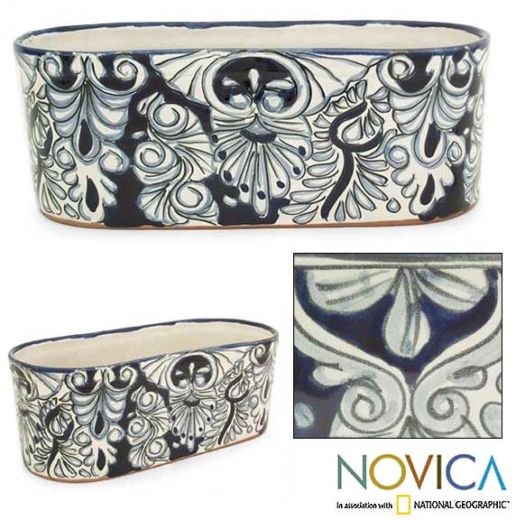 Ceramic Blue Cradle Flowerpot (Mexico)