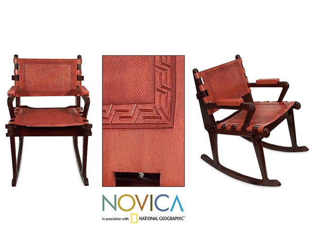 Cedar and Leather Contemporary Rocking Chair (Peru)
