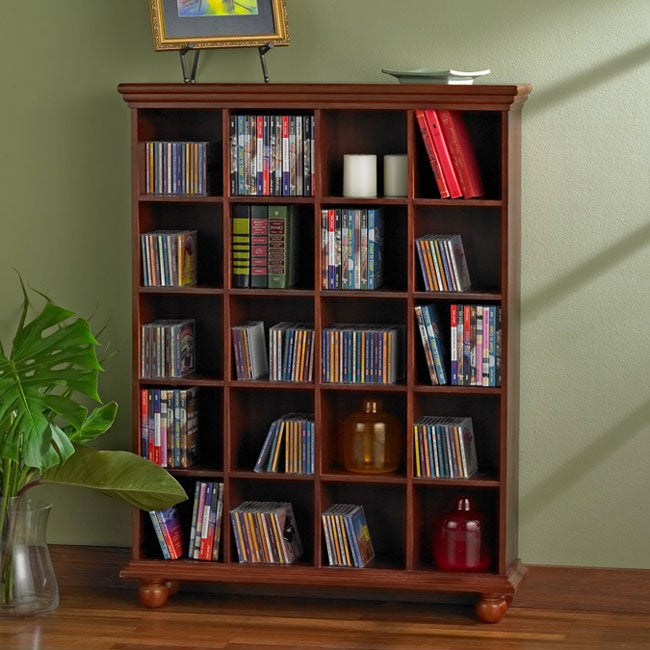 Cherry Finished 4-column Media Storage Shelf - Thumbnail 0