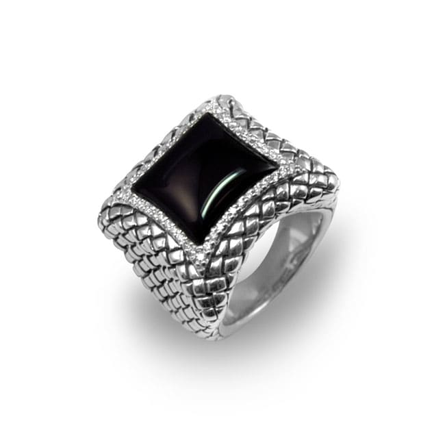 904c84a99 Shop Scott Kay Sterling Silver 1/4ct TDW Diamond Onyx Ring - Free Shipping  Today - Overstock - 2475008