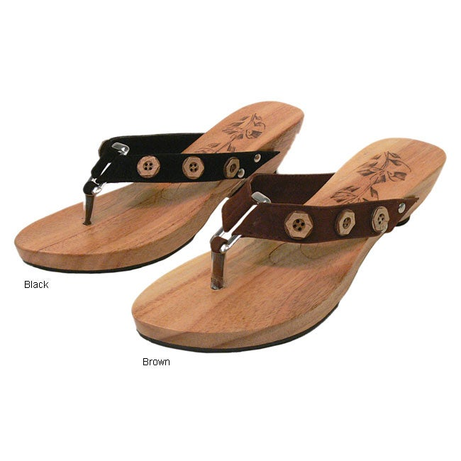 Shop Journee Collection Wooden Thong Sandals Free