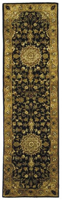Safavieh Handmade Classic Birjand Black/ Gold Wool Runner (2'3 x 10')