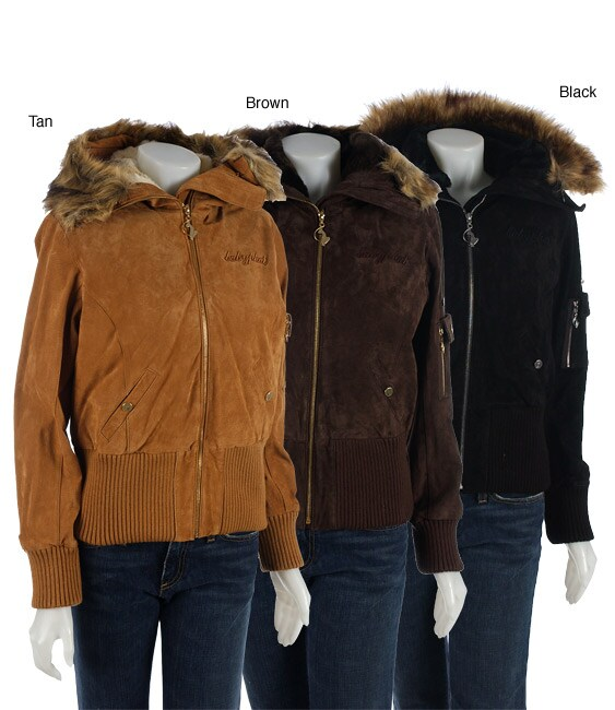 314c98a4e1a0 Shop Baby Phat Suede Bomber Jacket with Faux Fur Trim - Free ...