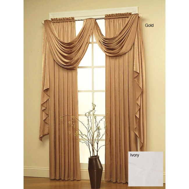 Glamour Curtain Rod Pocket Panel Pair And Valance Set