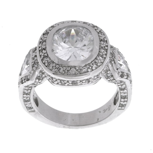 Sterling Essentials Sterling Silver Diamond-inspired Oval Cubic Zirconia Ring