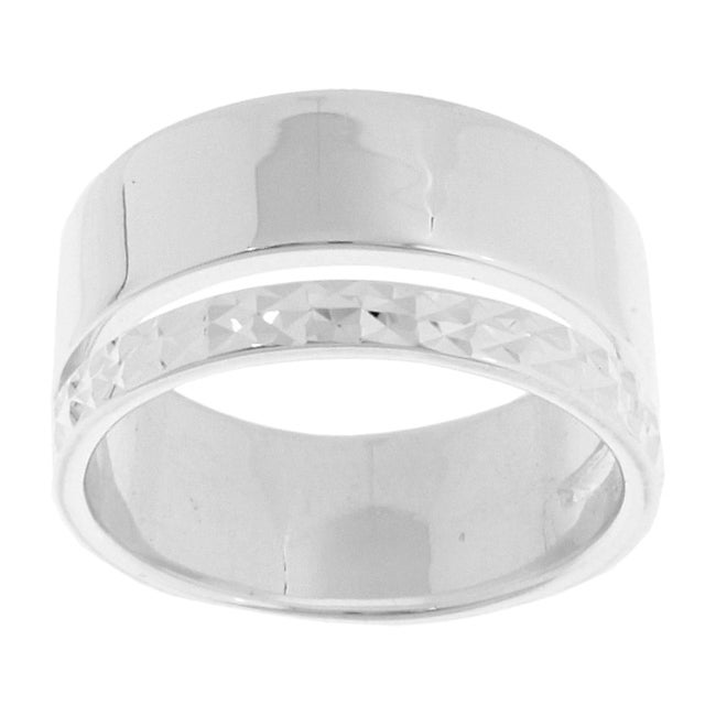 Sterling Essentials Sterling Silver Diamond-cut Band Ring