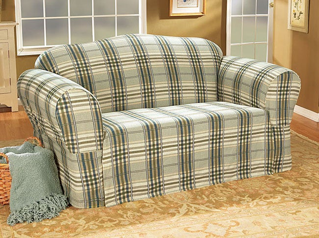 Bedford Plaid Washable Sofa Slipcover Free Shipping