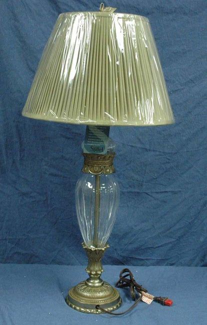 Stiffel Crystal Table Lamp With Silk Shade Free Shipping
