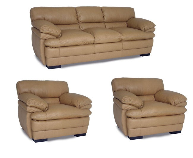 Shop Dalton Tan Leather Sofa And Two Chairs Free Shipping Today