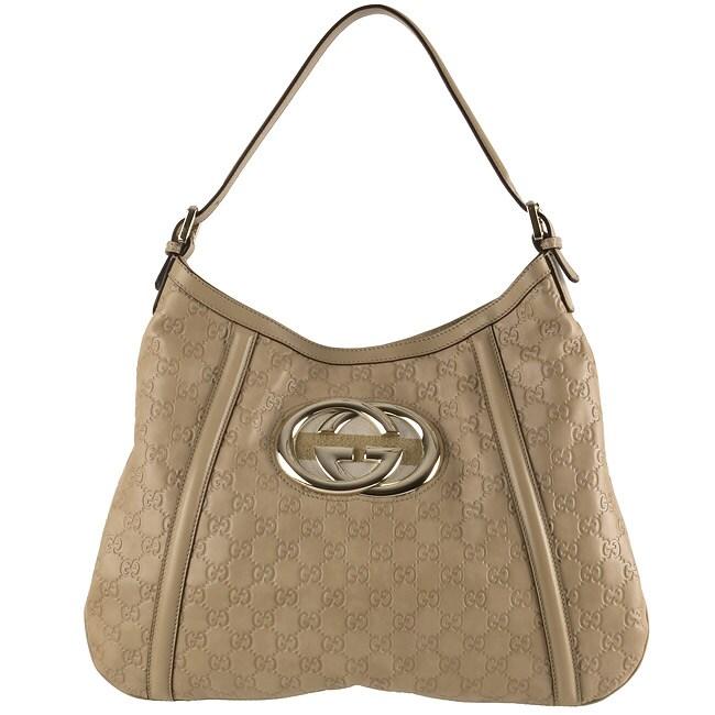 bcfccfde5f7 Shop Gucci Guccissima Sand Leather Britt Medium Shoulder Bag - Free ...