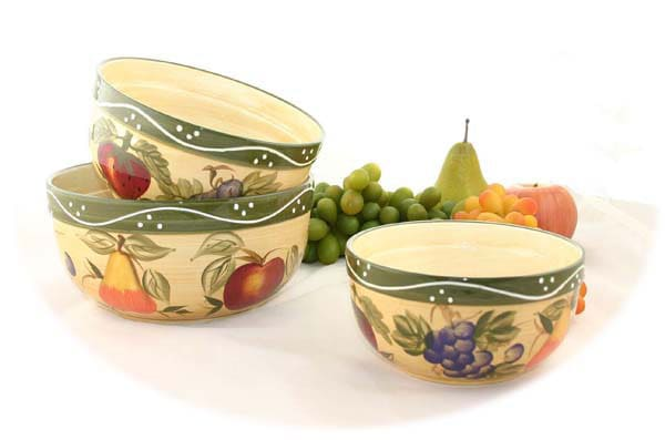Tuscan Collection Hand-painted 3-piece Serving Bowl Set - Thumbnail 0