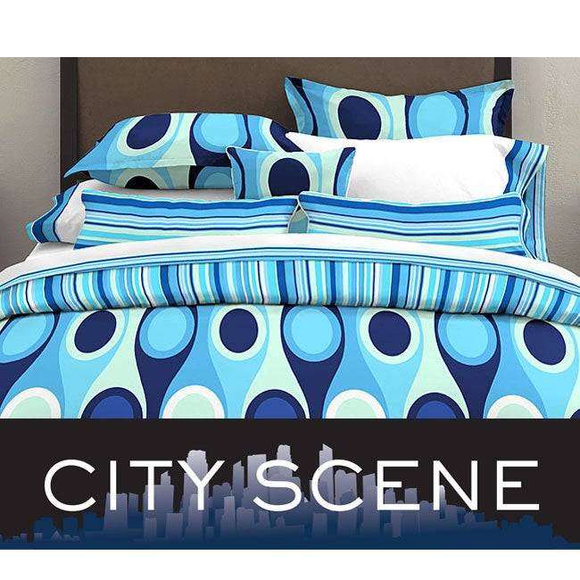 City Scene Retro Radar Blue 7-piece Bedding Ensemble