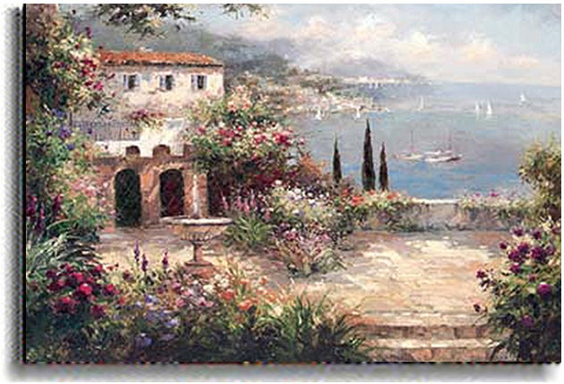 Peter Bell 'Mediterranean Villa' Stretched Canvas Art