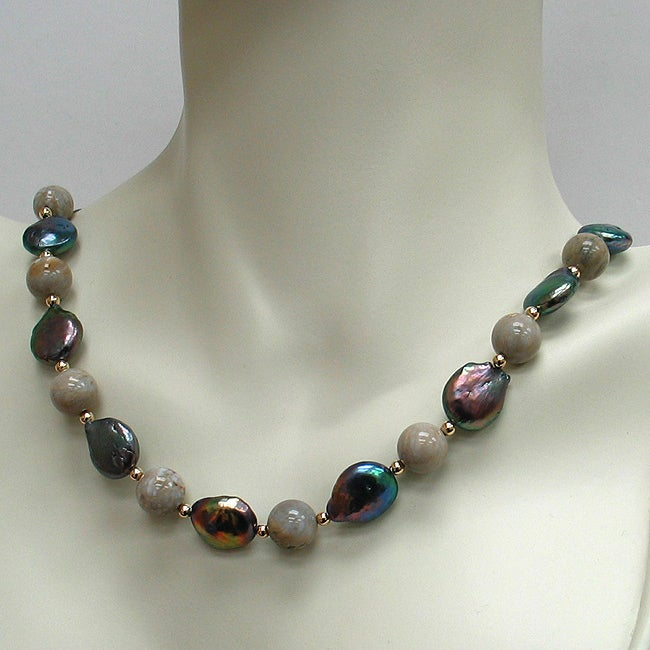 14k Yellow Gold Fossil and Freshwater Pearl Necklace