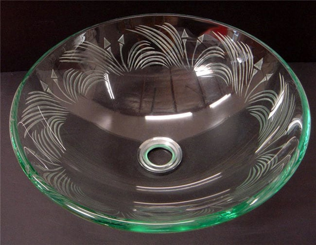 Does Glass Sink : Etched Floral Design Clear Glass Vessel Sink - Free Shipping Today ...