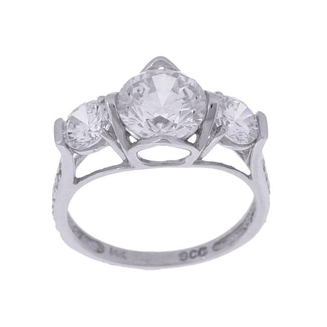 14k White Gold CZ Diamoness 3-stone Ring