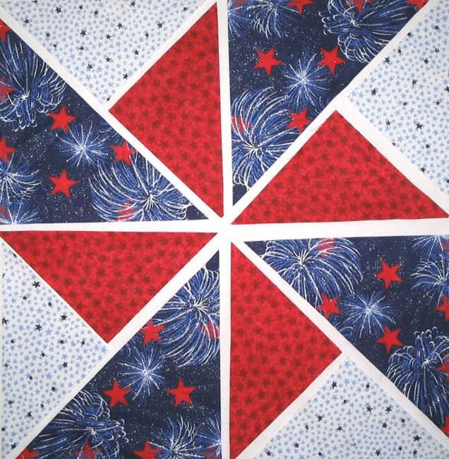 Fireworks Fabric Pinwheel Quilt Kit 12 Blocks Free
