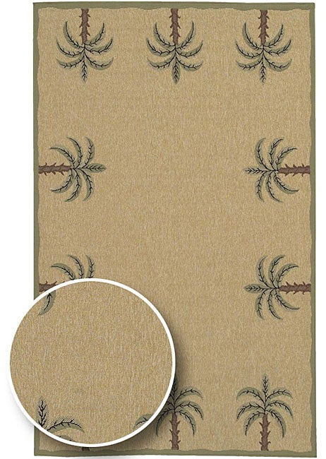 Cafe Series Palm Tree Border Indoor/Outdoor Rug (7u00276 X ...