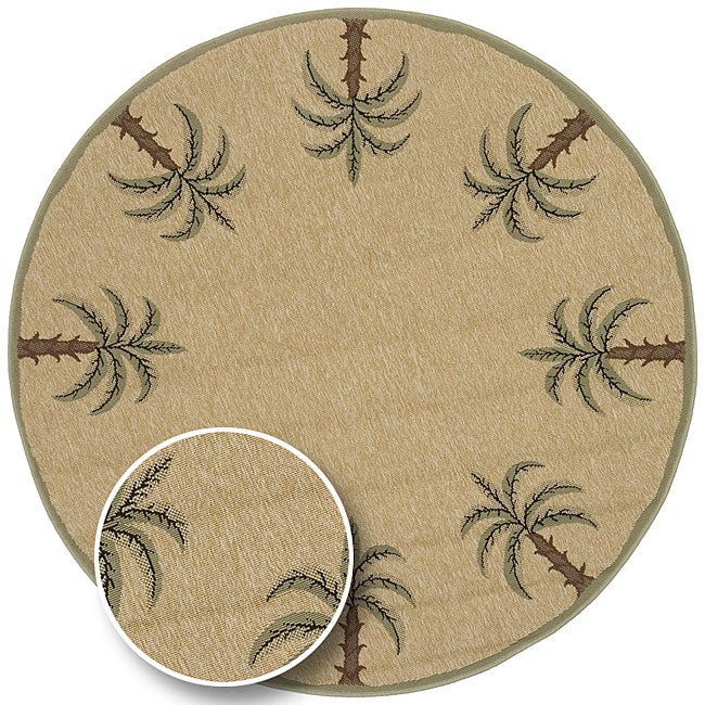 Cafe Series Palm Tree Border Indoor/Outdoor Rug (8u00279 Round)