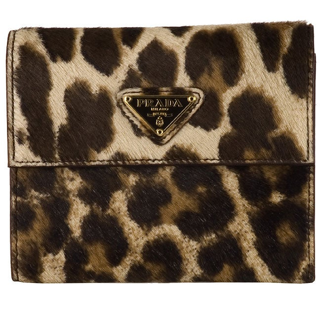 30e66e5cf666 Shop Prada Leopard Print Tri-fold Wallet - Free Shipping Today ...