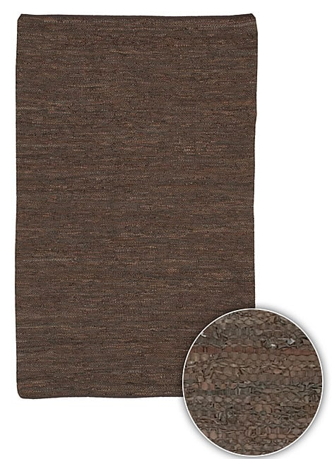 Hand-woven Mandara Natural Leather Rug (8' Round)