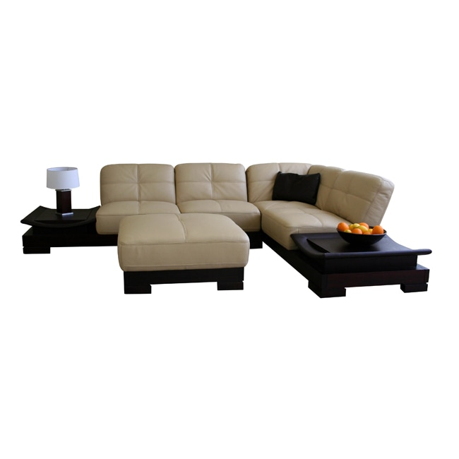Wyatt 3 Piece Full Leather Platform Sectional Free