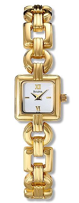 Bulova Women's White Dial Goldtone Steel Watch