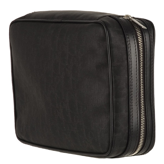 a9eff07fa Shop Christian Dior Black Stamped Canvas Toiletry Bag - Free Shipping Today  - Overstock - 2541697