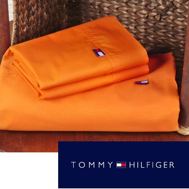 Tommy Hilfiger Orange Cotton Sheet Set