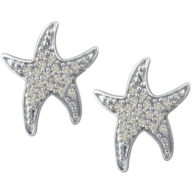 Thumbnail 10k White Gold 1 5ct Tdw Diamond Starfish Earrings J K