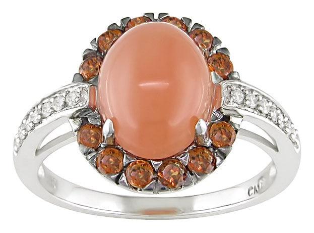14k White Gold Orange Quartz Citrine Ring