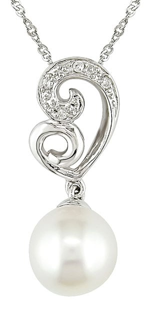 14k White Gold Diamond Cultured FW Pearl Pendant
