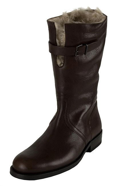 489065b42 Shop Gucci Flat Leather Boots with Shearling Lining - Free Shipping ...