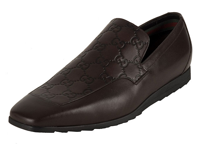 Gucci Men's Leather Loafers with Guccissima Panel