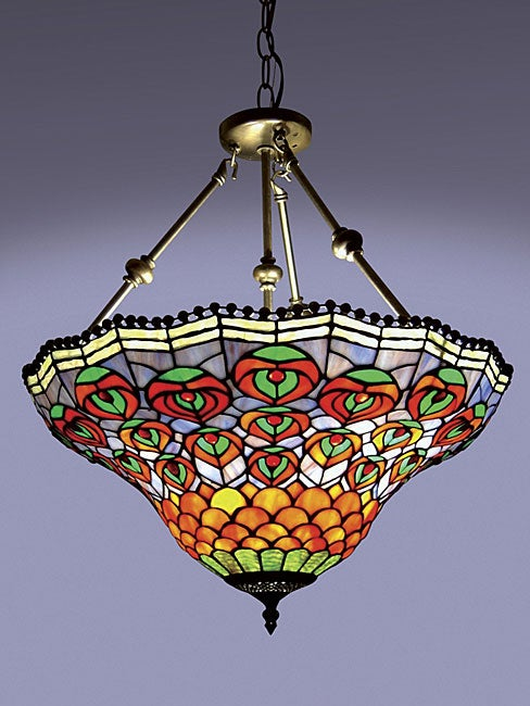 peacock tiffany style hanging pendant lamp free shipping today. Black Bedroom Furniture Sets. Home Design Ideas
